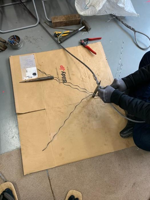 弊社従業員にワイヤーロープのアイ加工実習を行いました!
